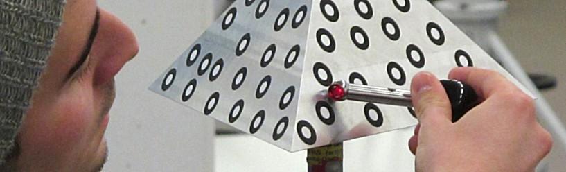 Fabian am Corner-Cube-Reflektor